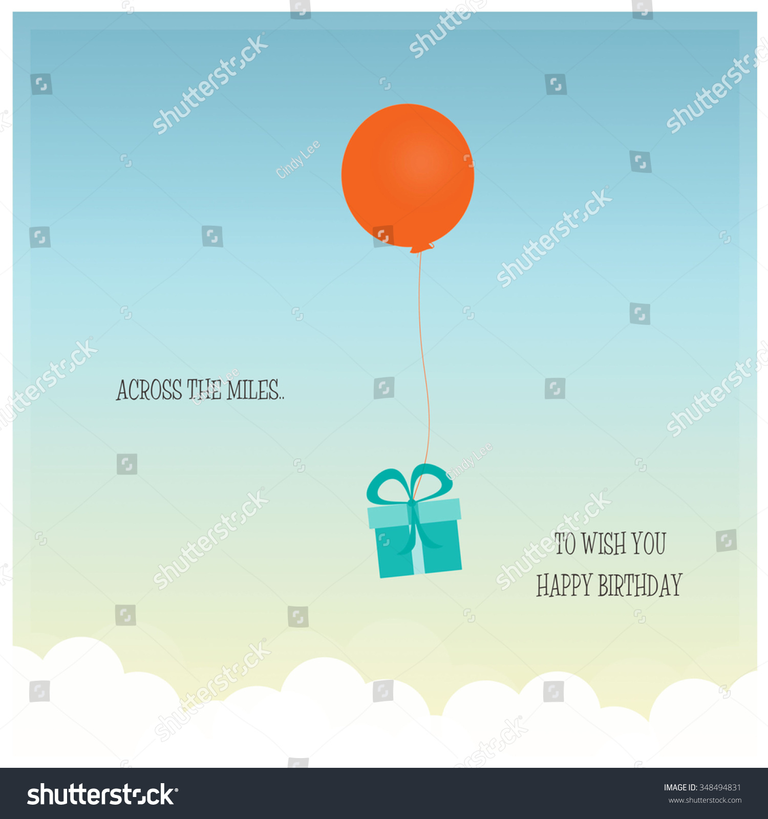 Across Miles Happy Birthday Stock Illustration 348494831