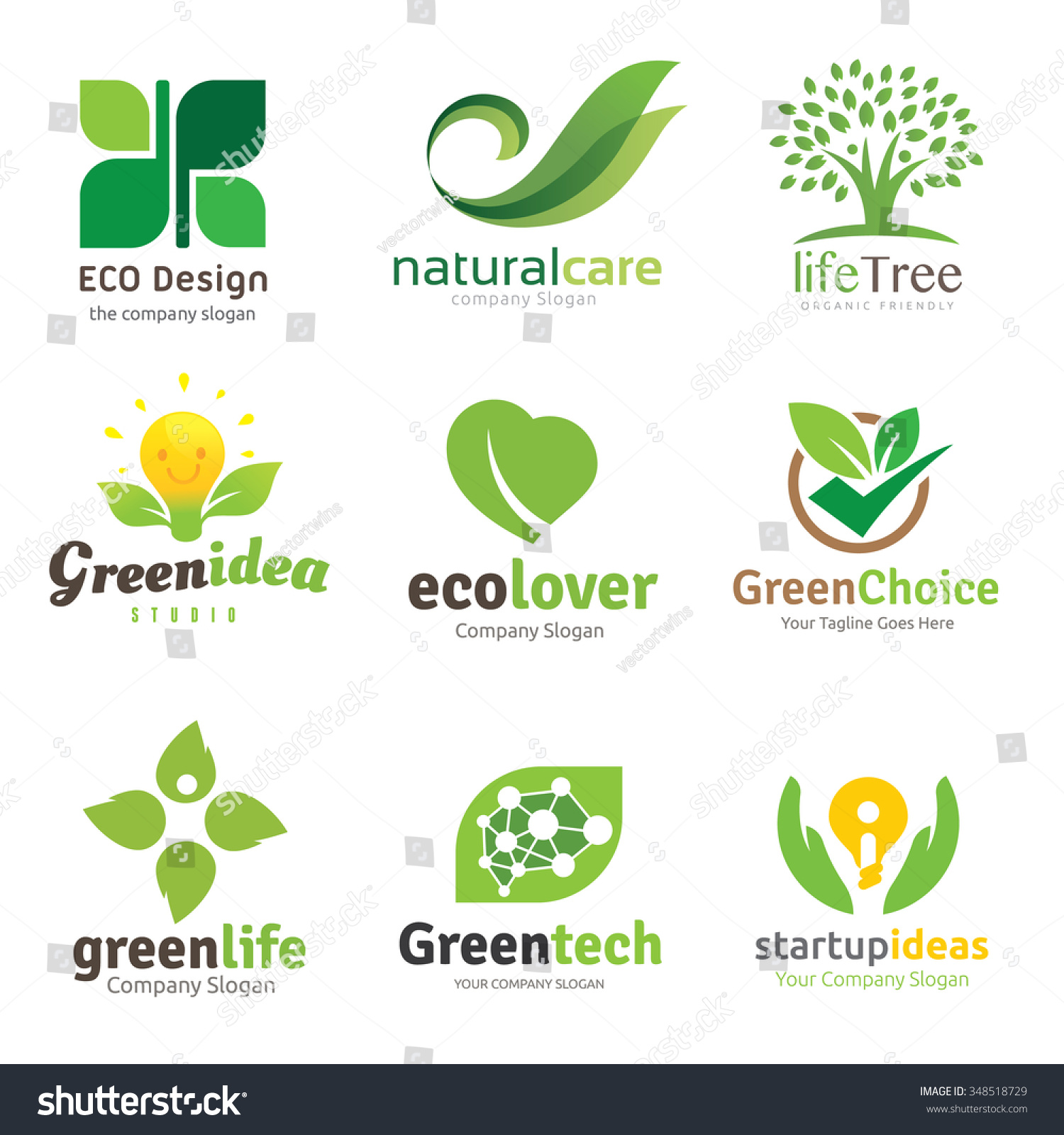 Green and Eco lover logo set Logo set logo collection Vector logo template