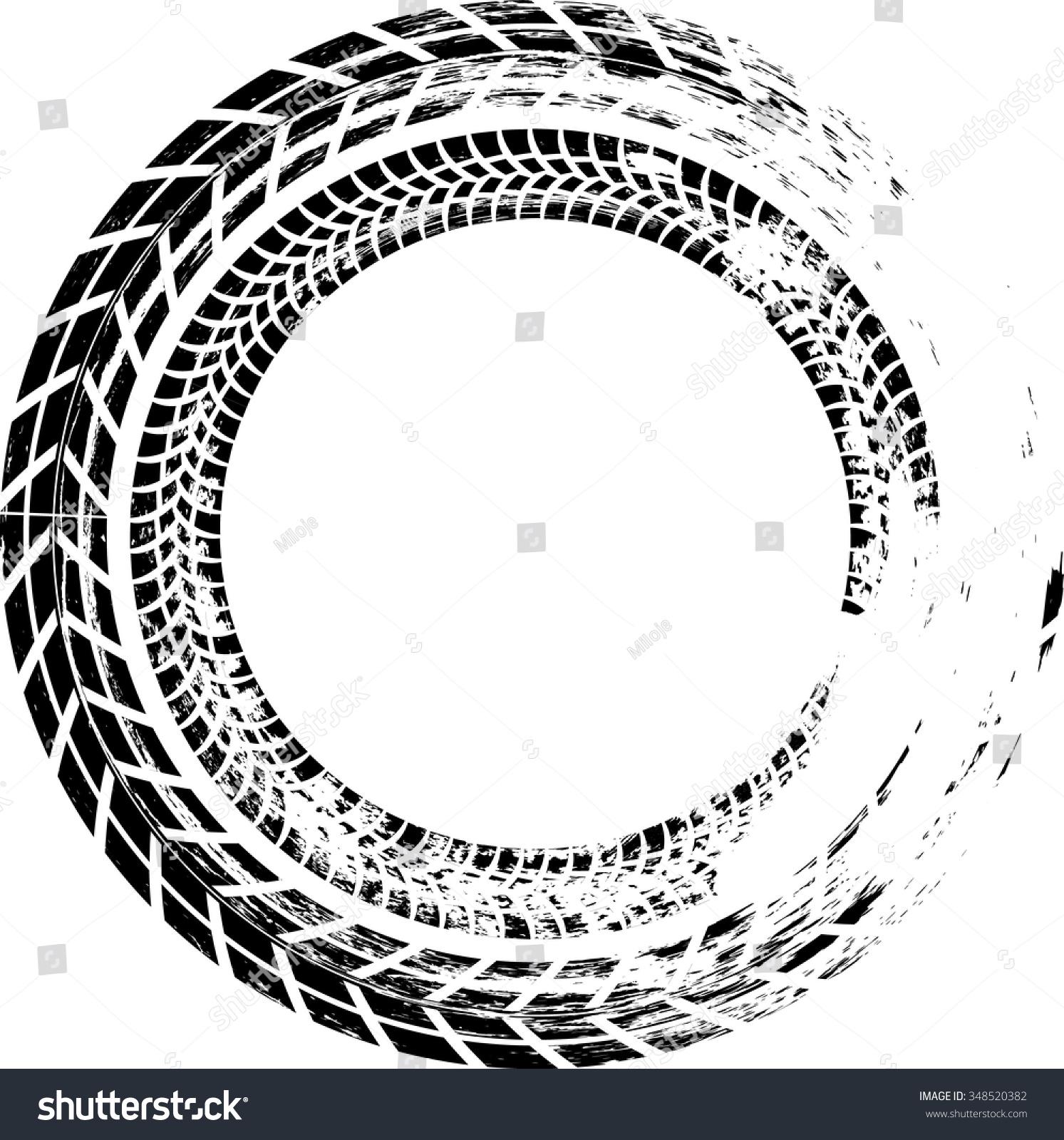 royalty free tire track vector round border frame 348520382 rh avopix com