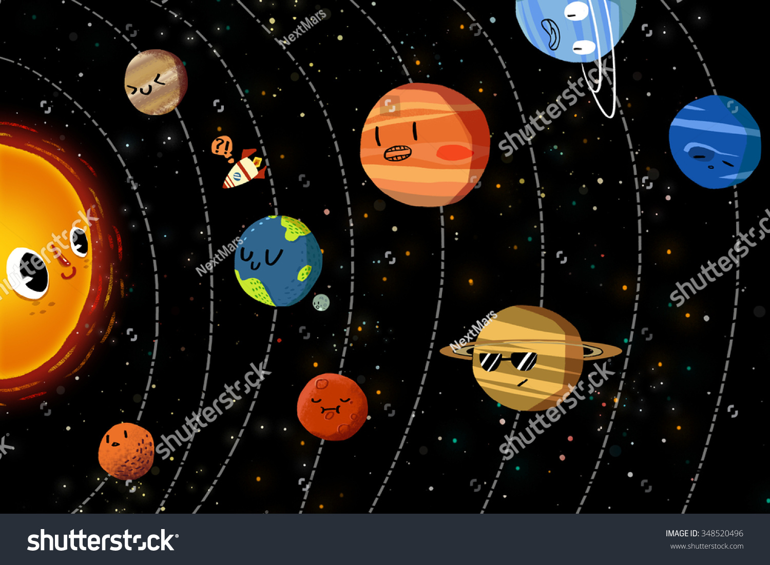 Illustration For Children: The Happy Planets In Solar ...