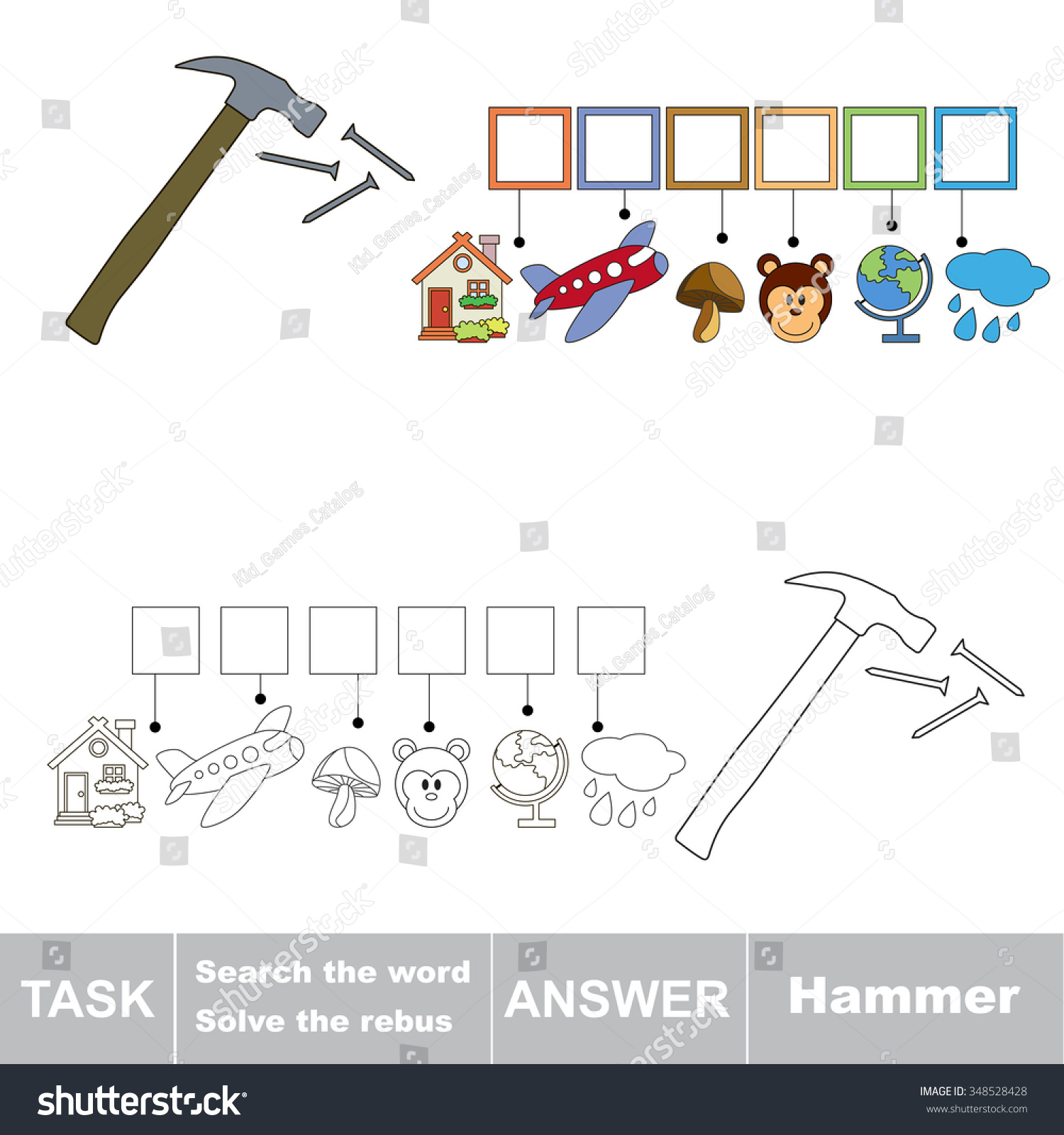 vector rebus game task and answer solve the rebus and find the word hammer 348528428. Black Bedroom Furniture Sets. Home Design Ideas
