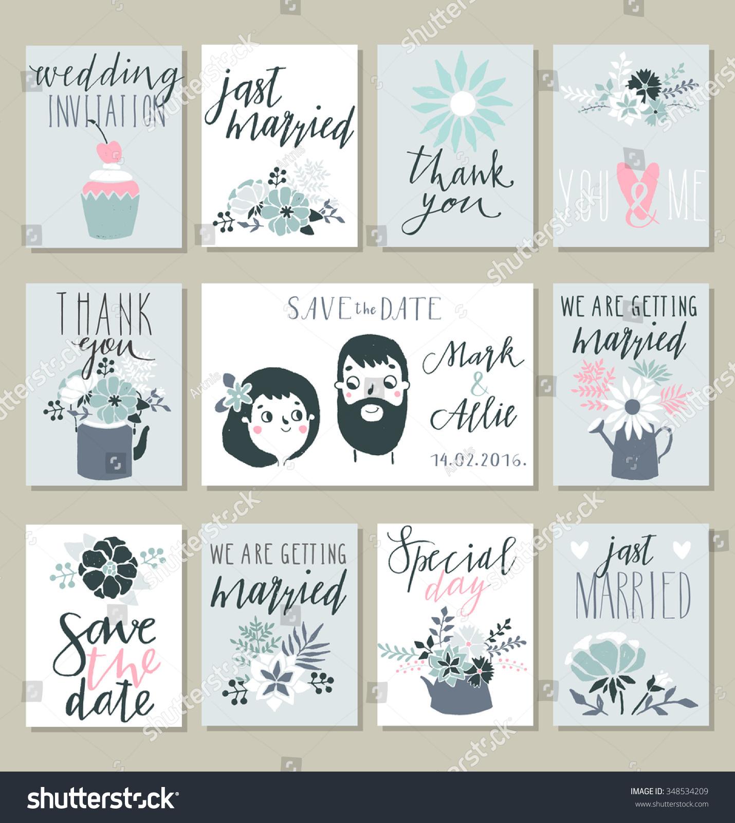 Collection 11 Cute Card Templates Wedding Stock Vector