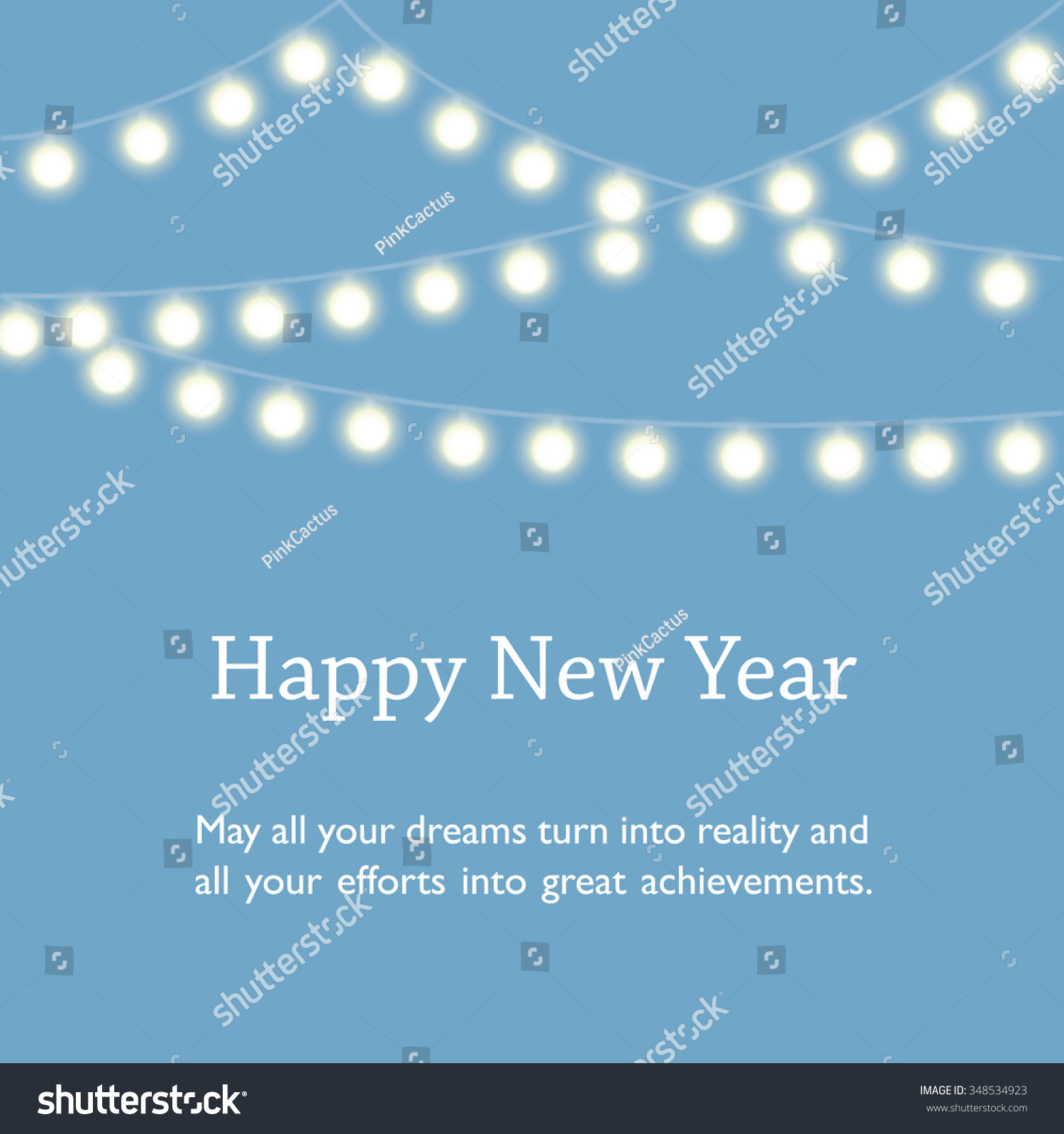 happy new year wishes on blue background with string of glowing fairy lights