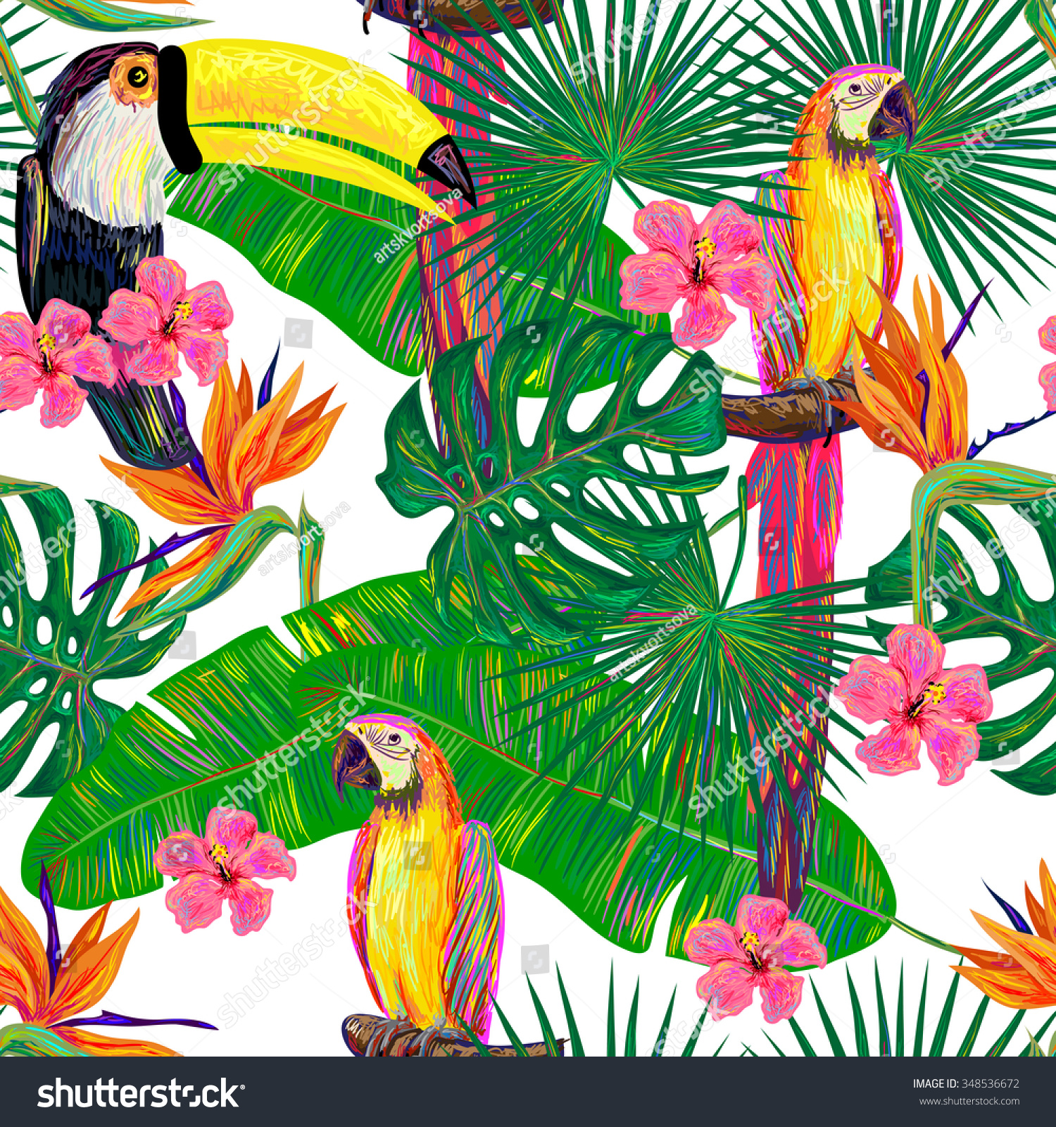Seamless Jungle Pattern Toucan Parrot Exotic Stock Vektor