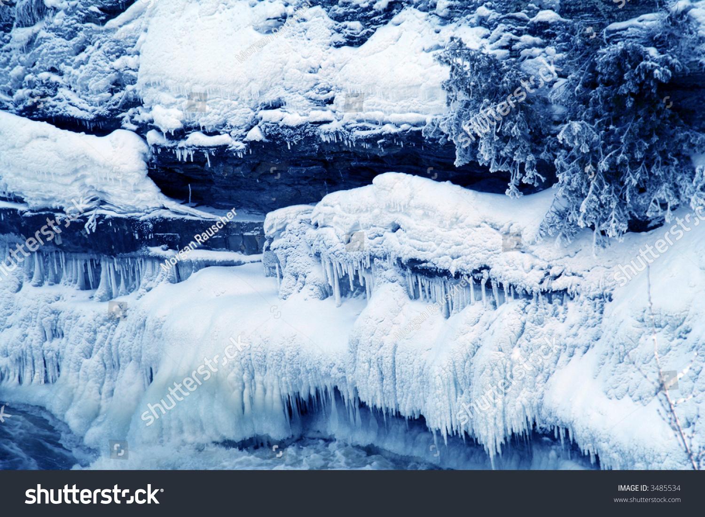 Icy Cold Ice Ridges Freezing Blue Stock Photo 3485534
