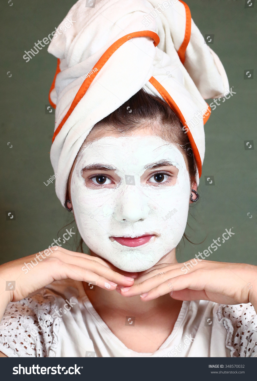 teenager pretty blue clue mask stock photo 348570032