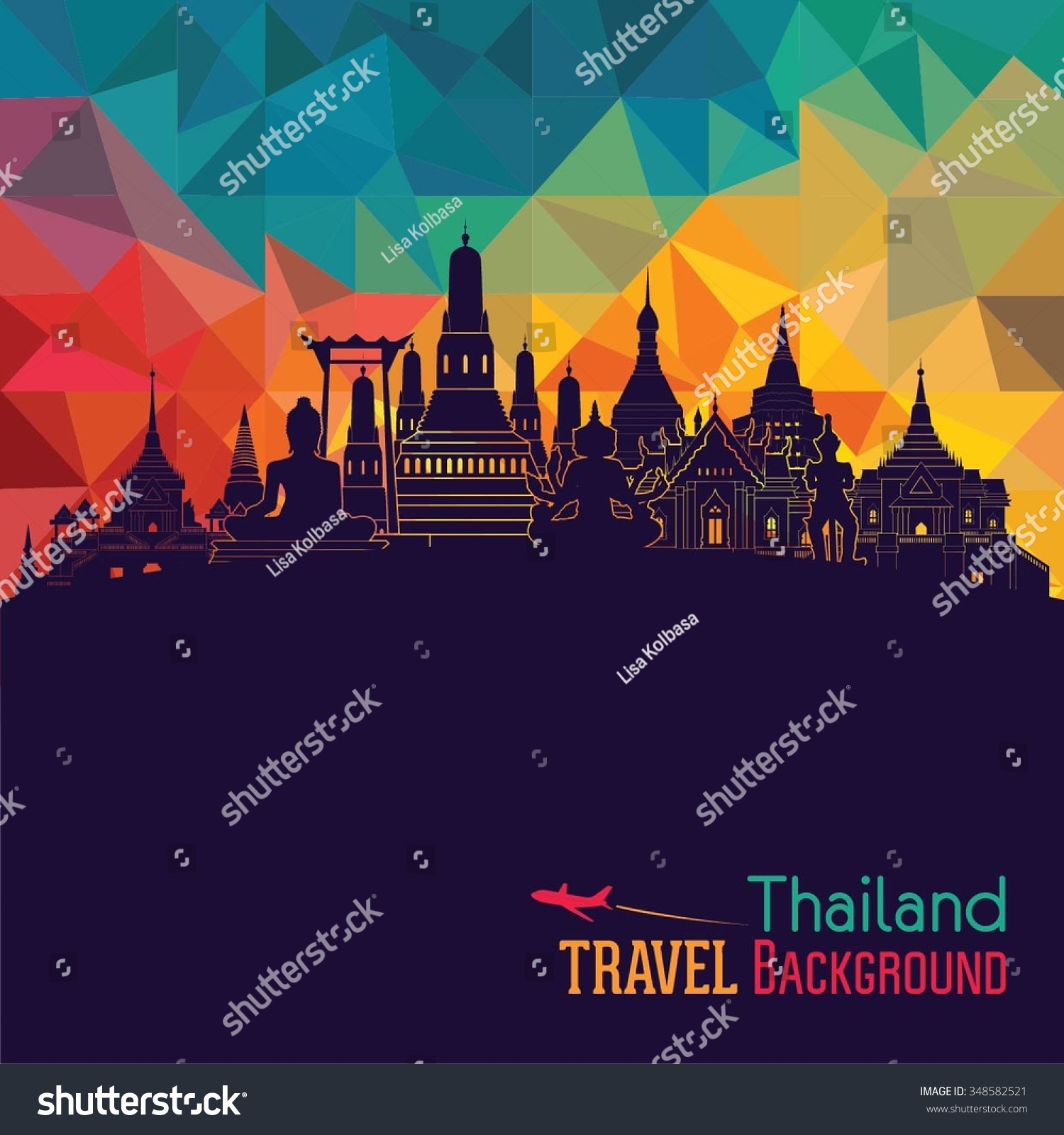 Thailand detailed skyline Vector illustration