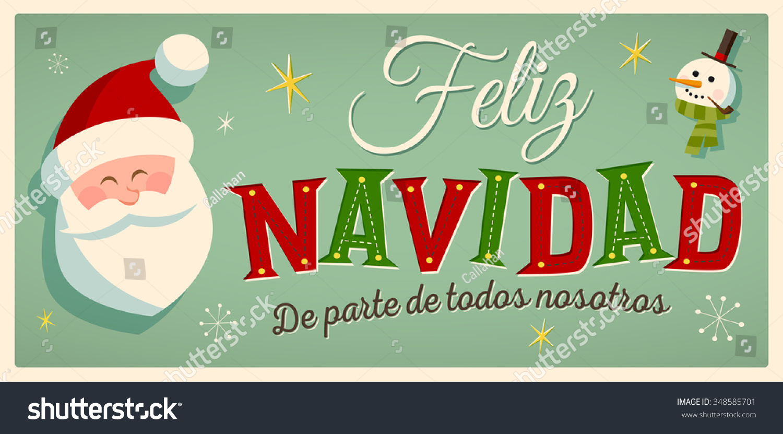 Vintage Style Christmas Card Spanish Feliz Stock Vector (Royalty ...