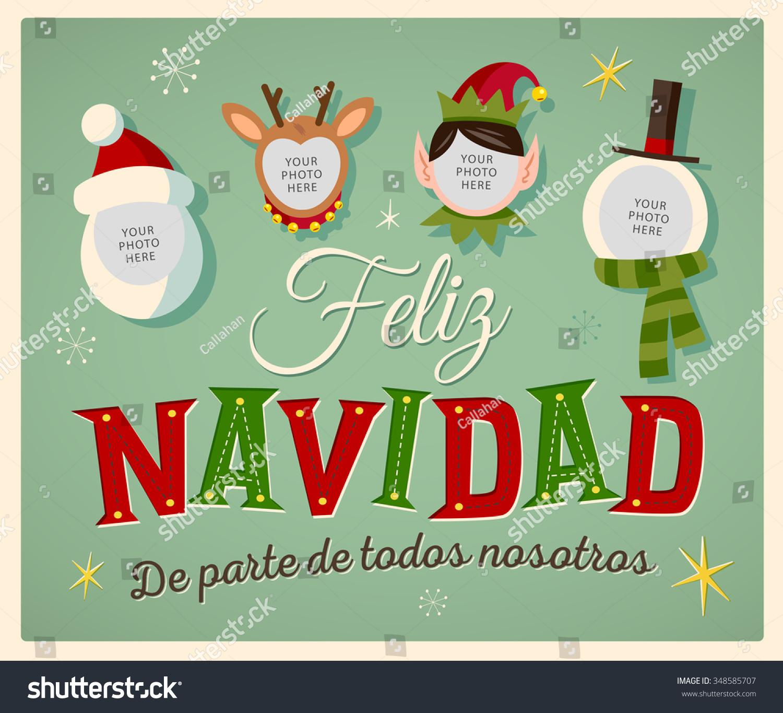 Vintage style family spirit christmas card stock vector 348585707 vintage style family spirit christmas card in spanish feliz navidad de parte de todos kristyandbryce Choice Image