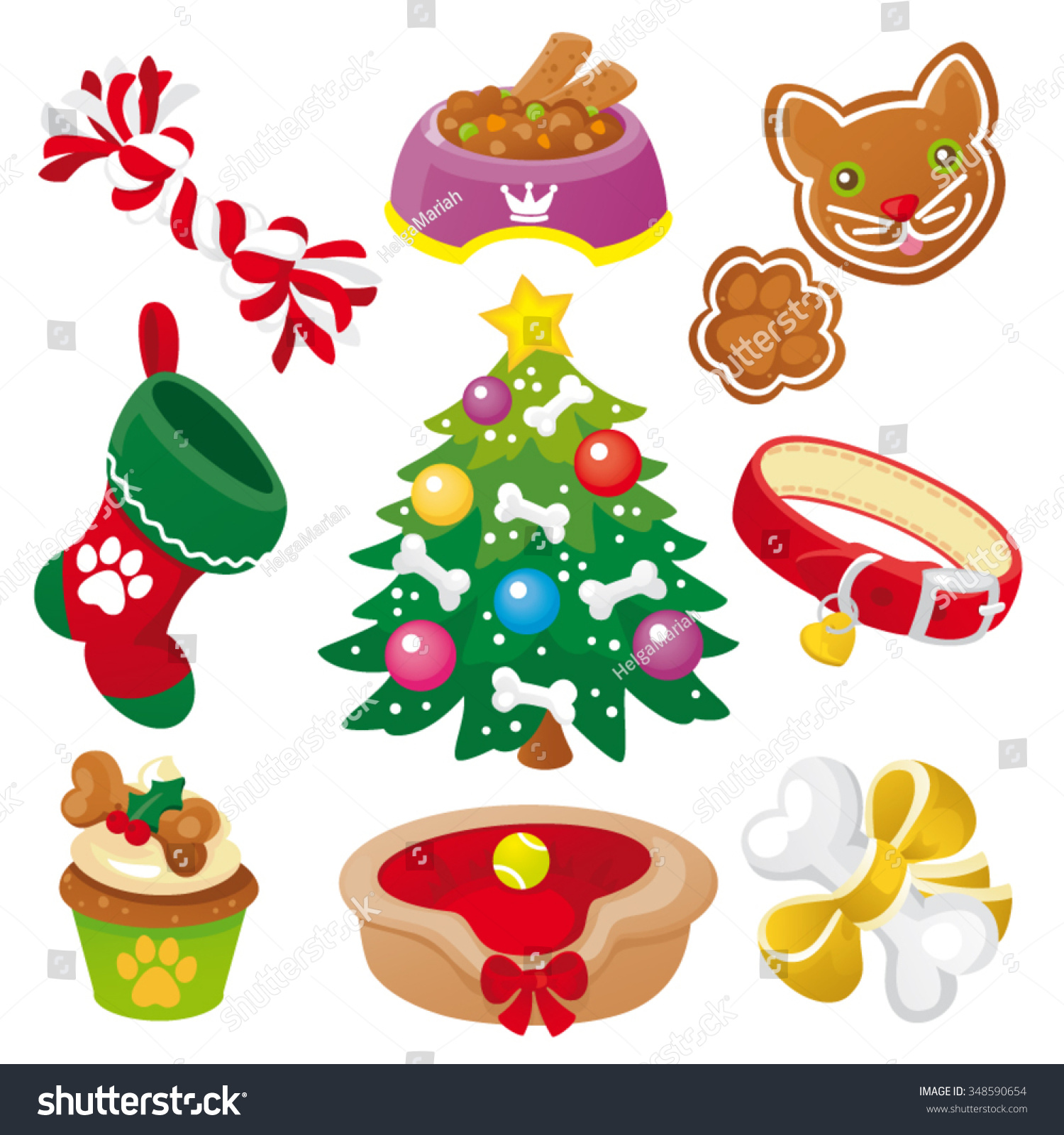 Christmas Gifts Dogs Icon Set Stock Vector (Royalty Free) 348590654 ...