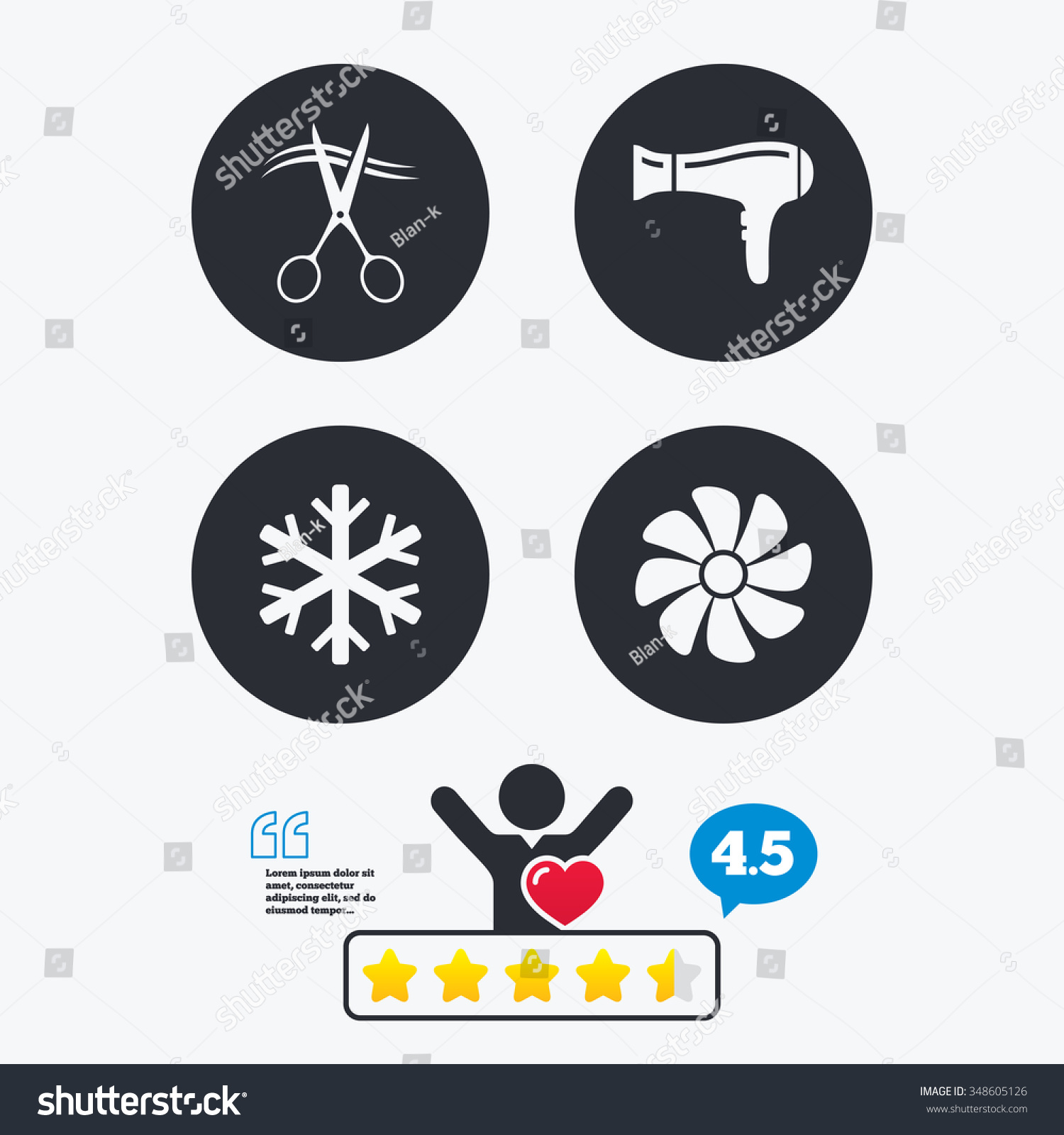 Hotel Services Icons Air Conditioning Hairdryer Stock Vector