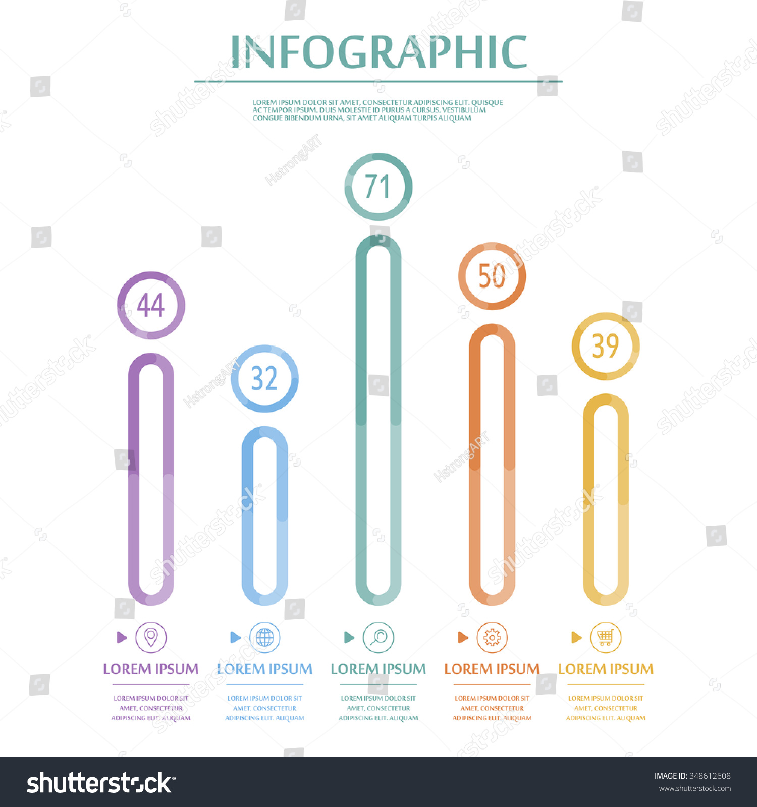Elegant Infographic Template Design Thin Line Vector – Bar Chart Template