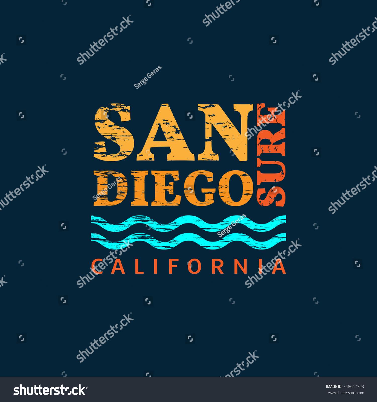 Shirt design san diego - Vector Illustration On The Theme Of Surfing In San Diego California Retro Design