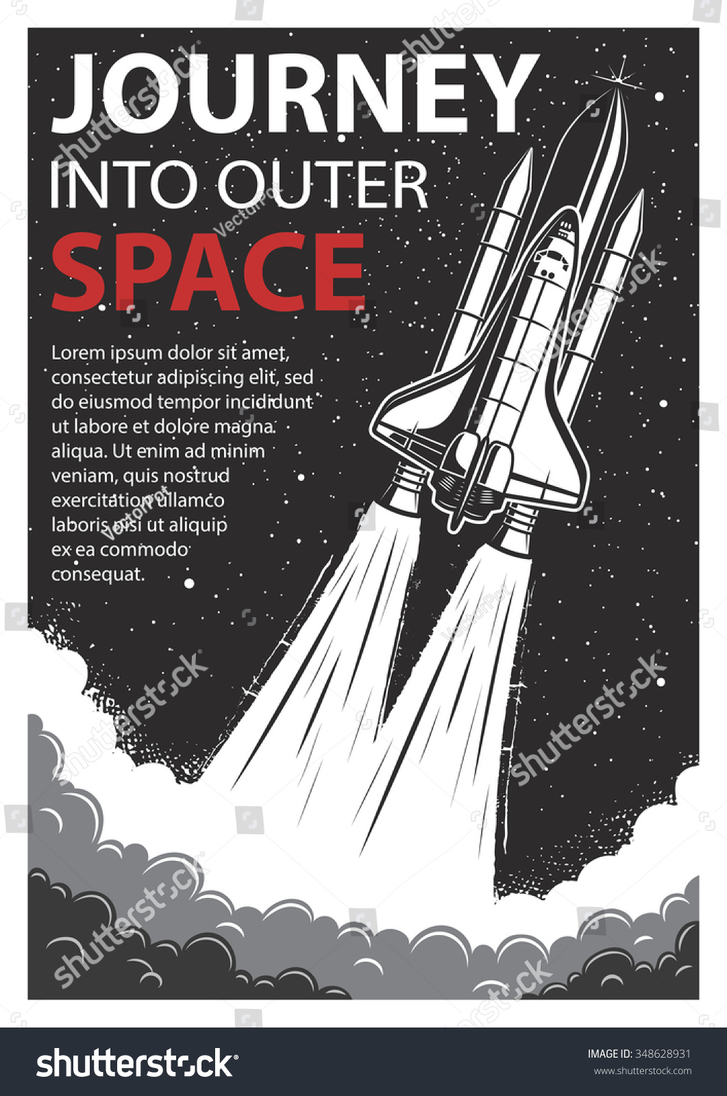 Vintage poster with shuttle launch on a grunge background Space theme Motivation poster