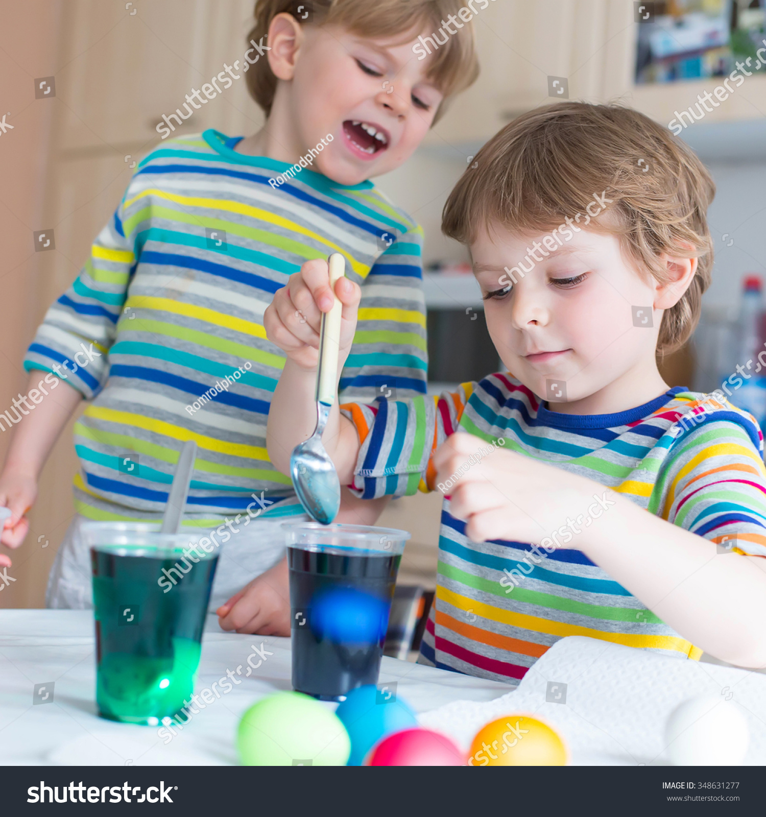 Two Funny Little Friends Boys Coloring Stock Photo (Royalty Free ...