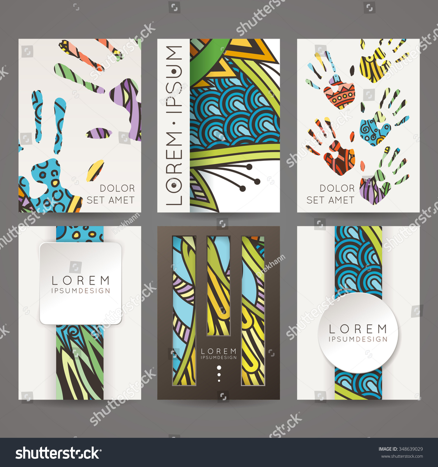 Set vector design templates brochures random stock vector for Colorful brochure templates