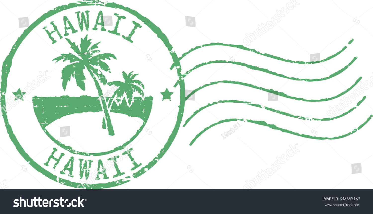 Green Postal Grunge Stamp Hawaii