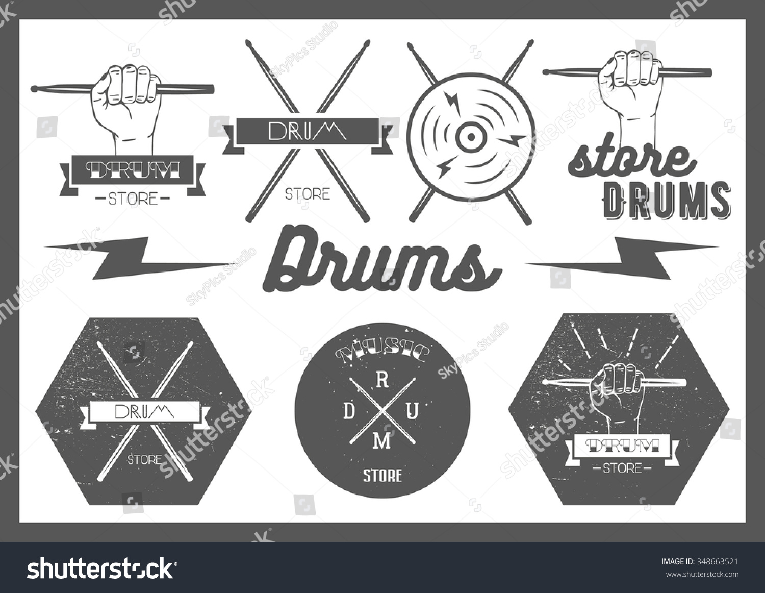 Text Rock Music Monochrome Music Bands 2652x2284 Wallpaper: Vector Set Vintage Style Drums Labels Stock Vector