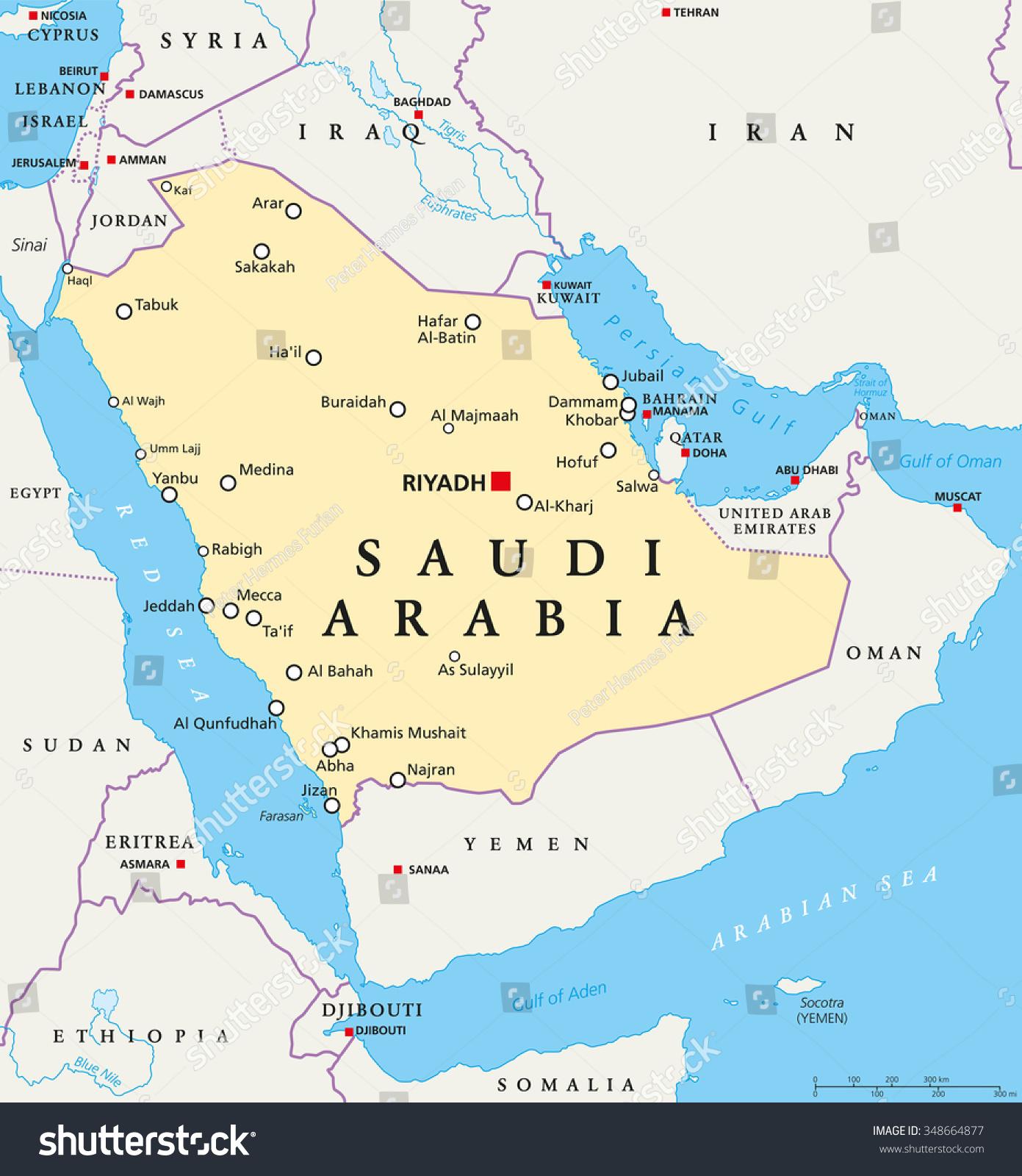 Saudi Arabia Political Map Capital Riyadh Stock Vector - English world political map