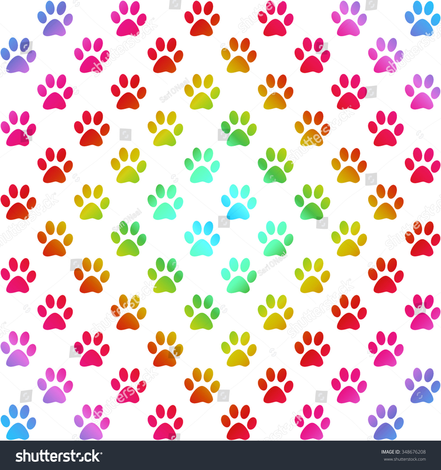 Paw Prints Gradient Colors Diamond Shape Stock