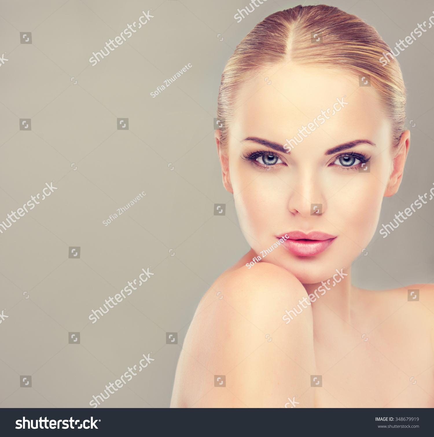 Woman Skin Care: Beautiful Woman Clean Fresh Skin Close Stock Photo