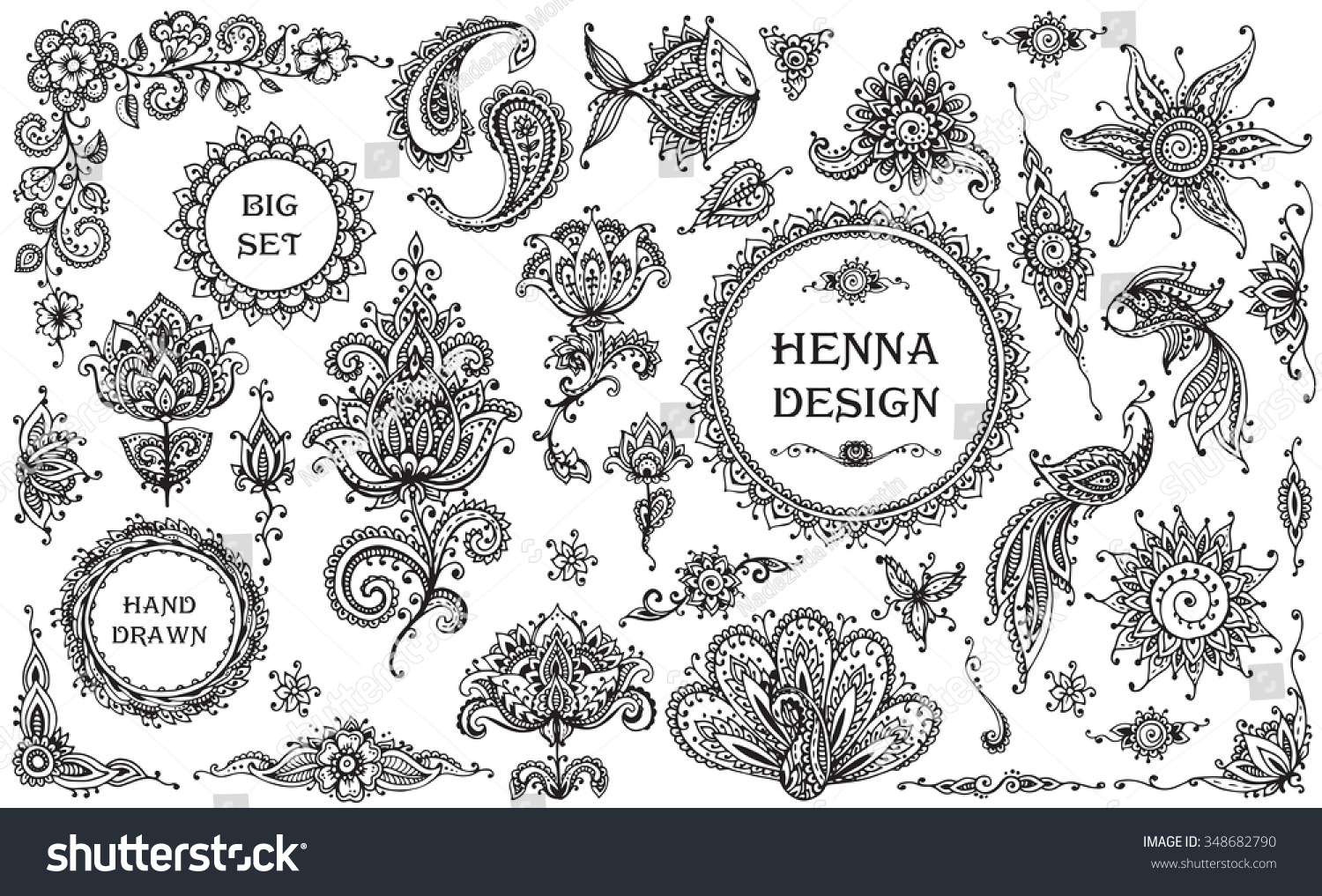Animal ornaments - Big Vector Set Of Henna Floral And Animal Elements And Frames Based On Traditional Asian Ornaments