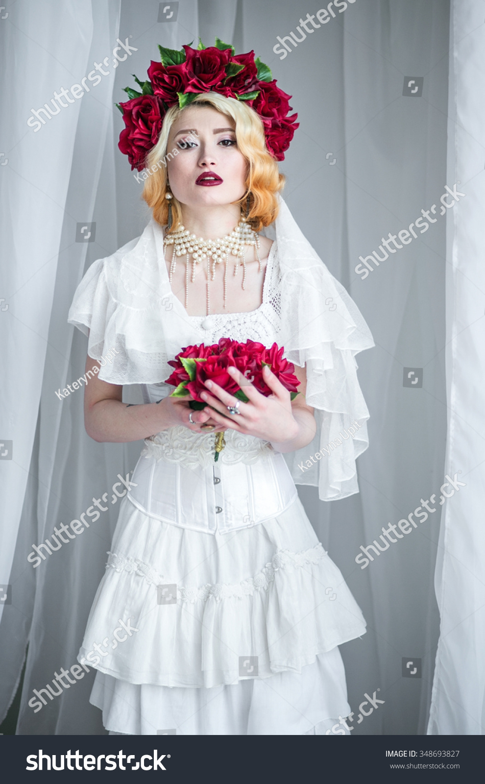 Beautiful Blonde Bride Dark Red Lipstick Stock Photo (Royalty Free ...