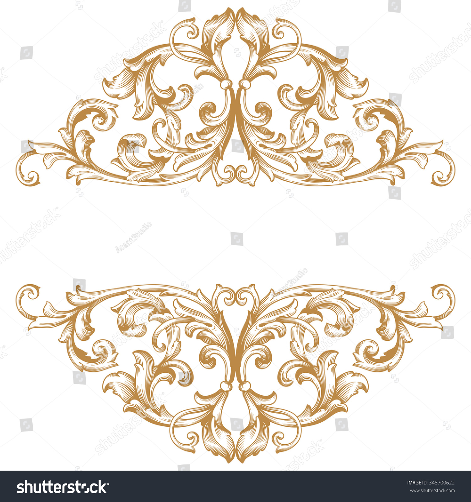 Premium Gold Vintage Baroque Frame Scroll Lager-vektor ...
