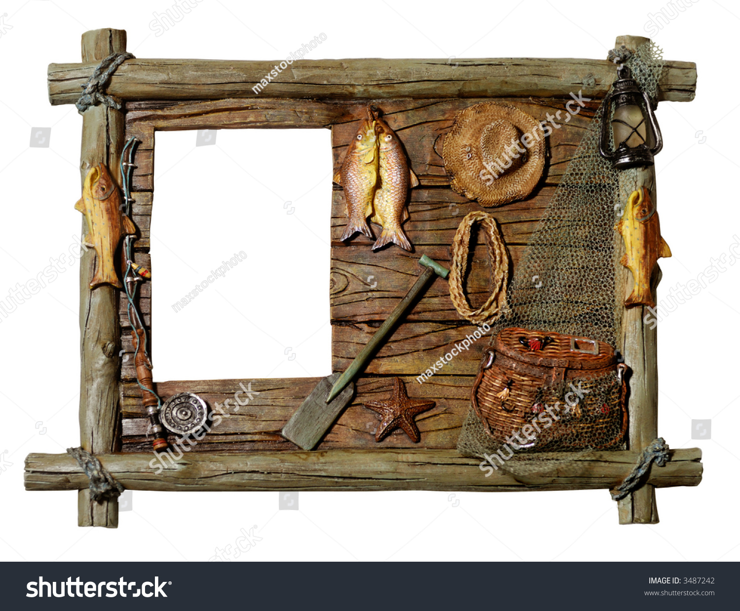 Decorative artistic wooden picture frame fishing theme for Fishing picture frame