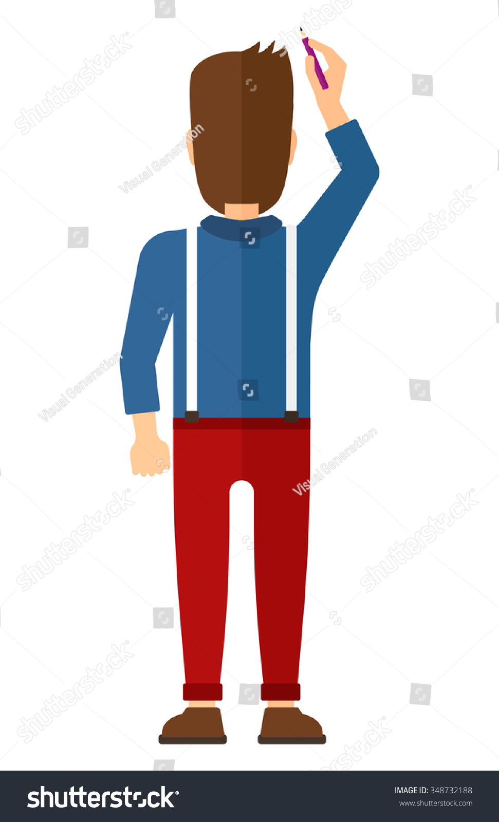 Back View Of Man Drawing On The Wall Vector Flat Design ...