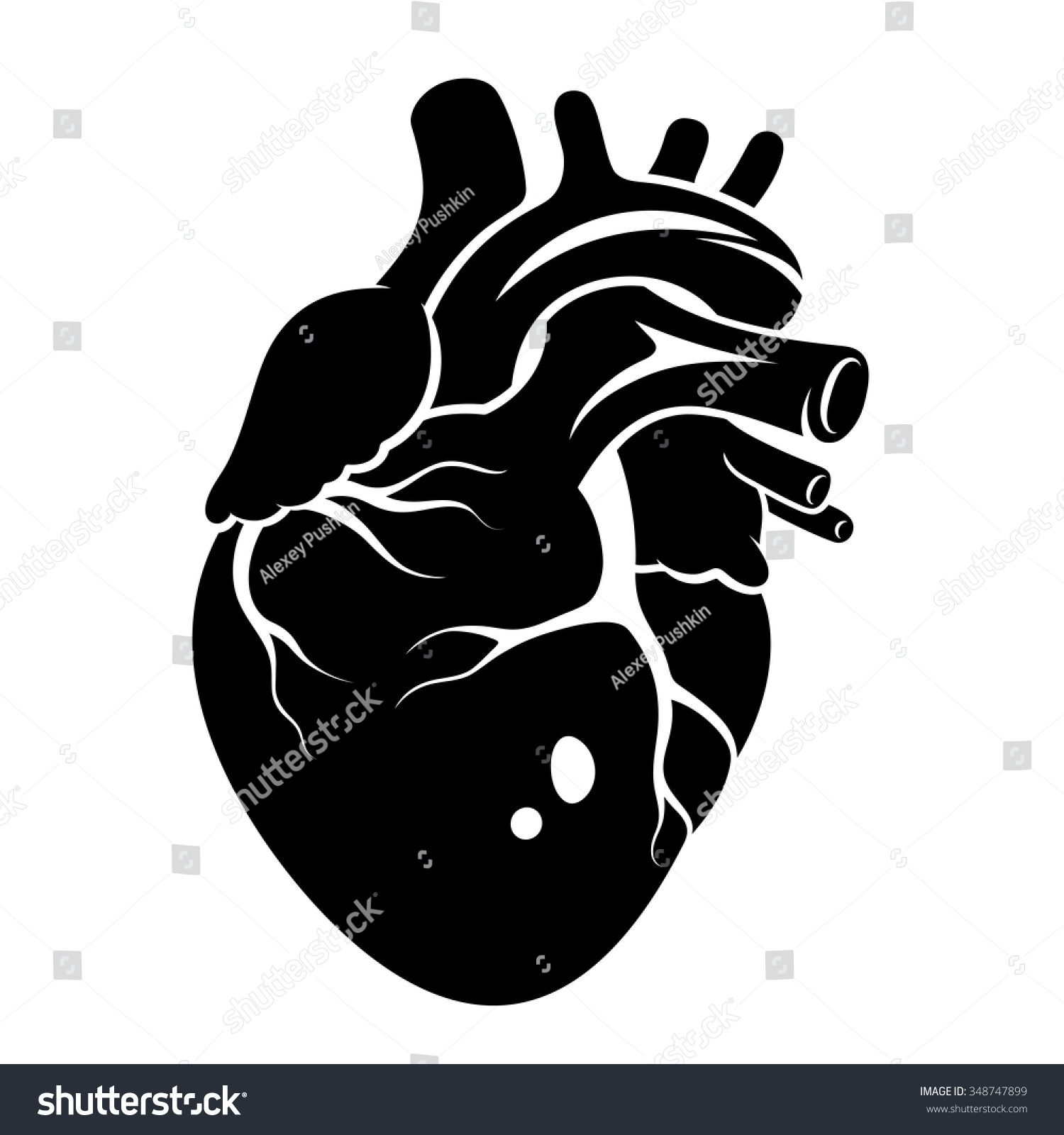 Vector heart black and white
