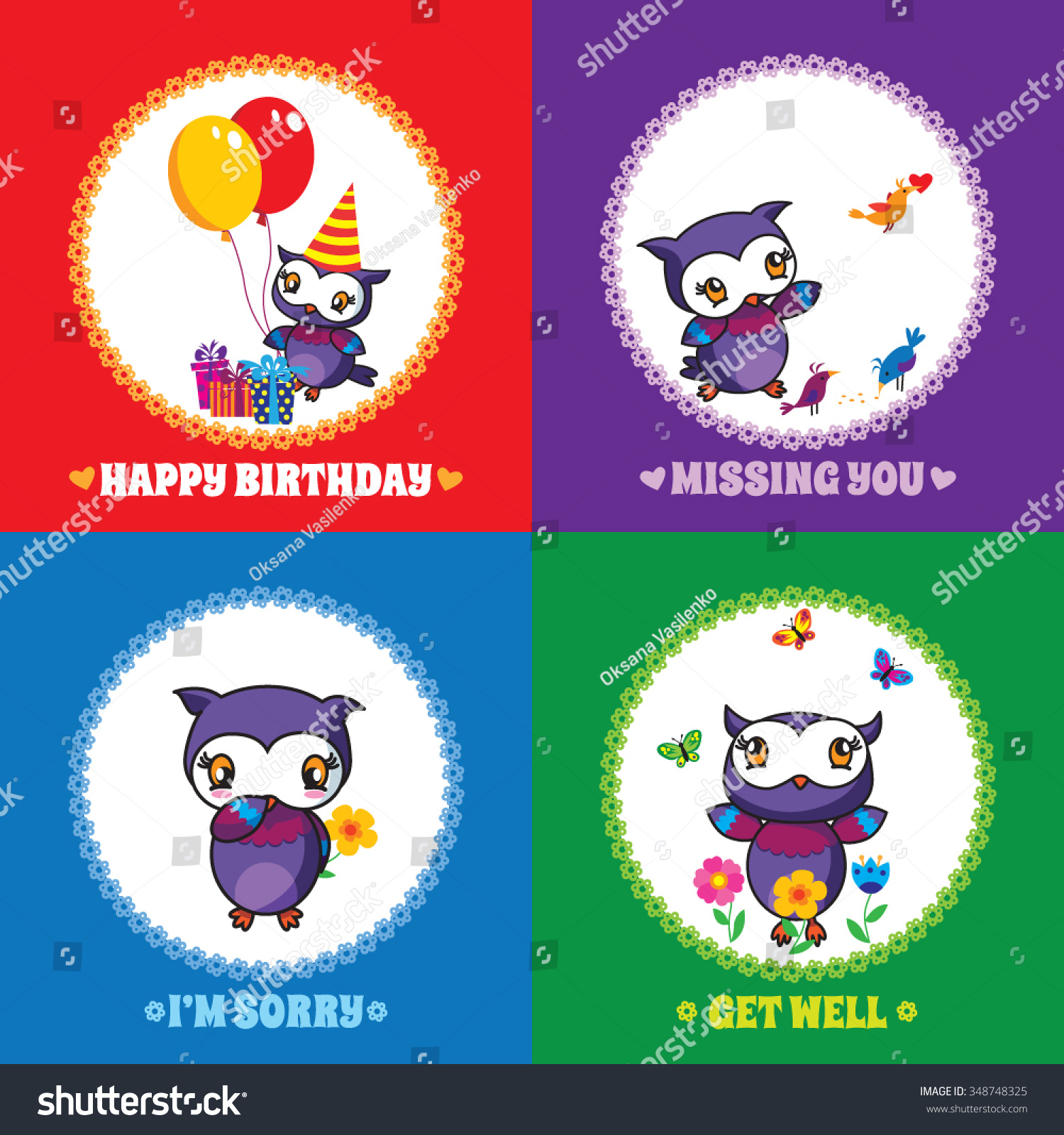 Set 1 Colourful Greeting Cards Cute Stock Vector Hd Royalty Free