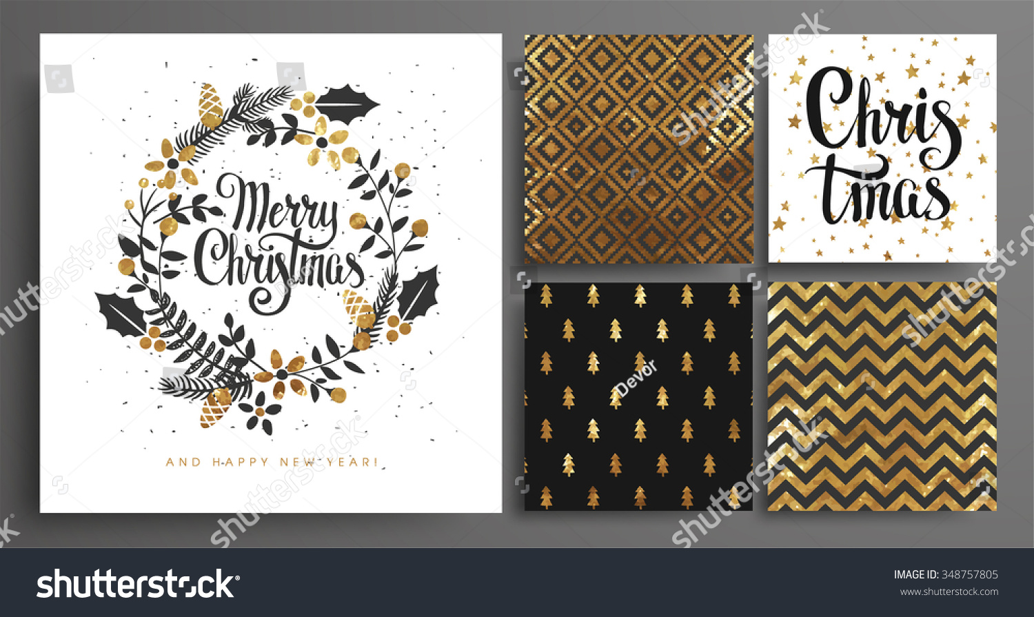 Christmas and New Year's  Template Set for Greeting Scrapbooking, Congratulations, Invitations, Tags, Stickers, Postcards.  Christmas Posters set. Vector illustration. #348757805