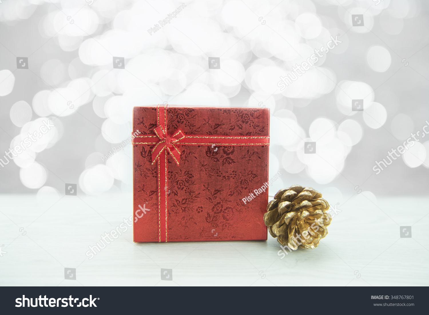 Christmas present gift boxes on wood floor isolated on white. Merry ...