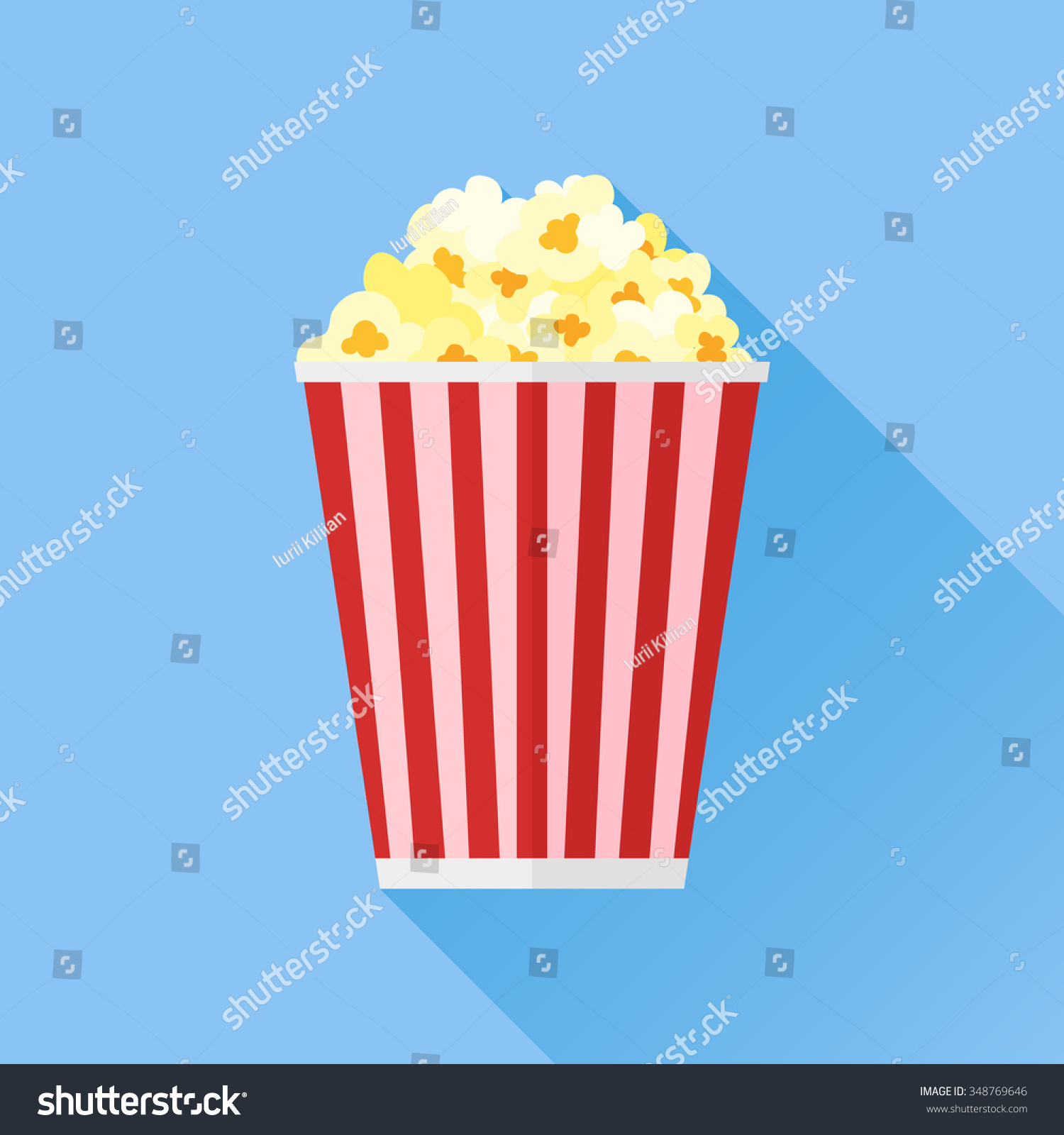 Popcorn Flat Icon Stock Vector 348769646 - Shutterstock