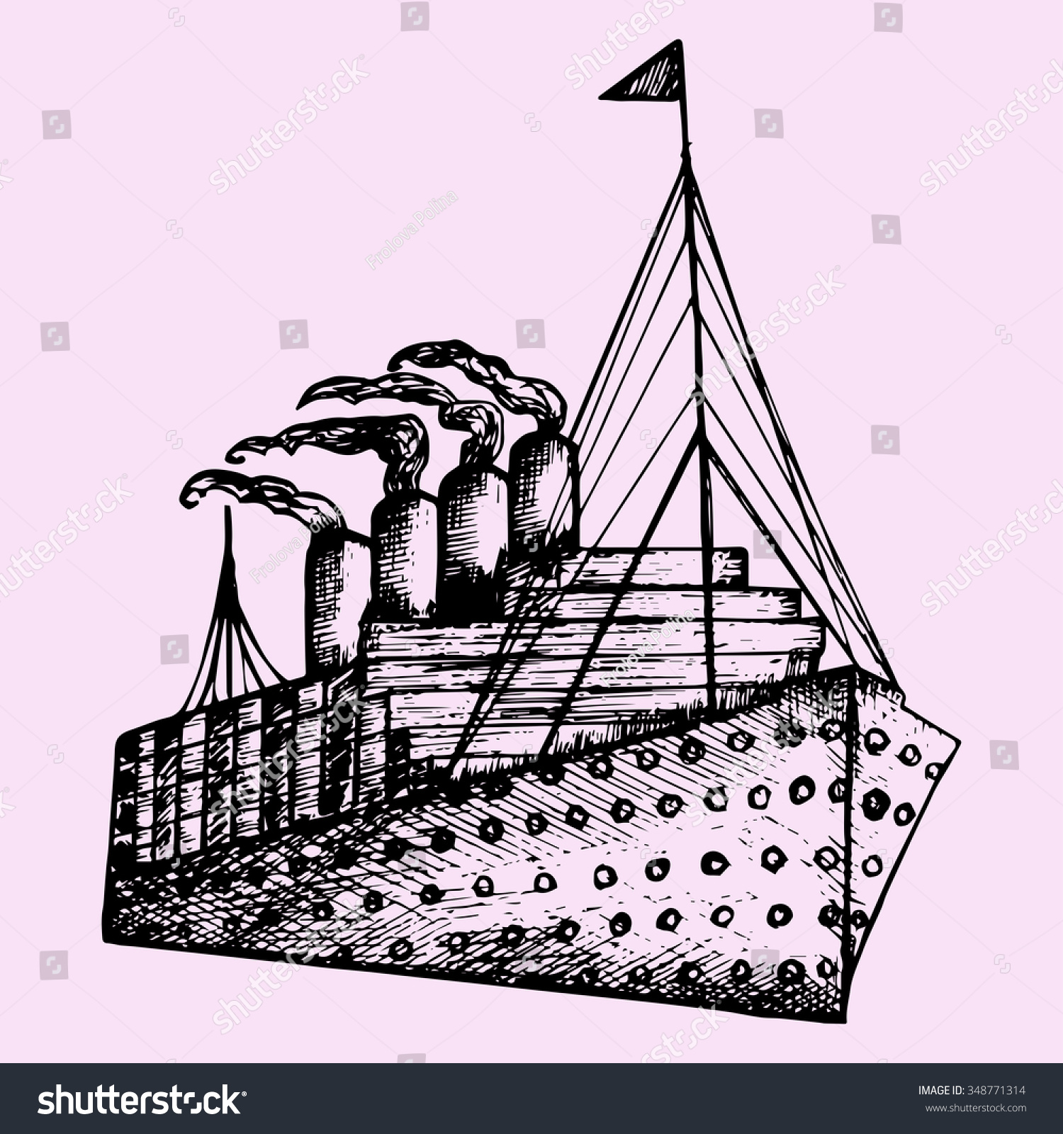 Steamship Drawing Ship, steamboat, steamship, doodle style, sketch ...