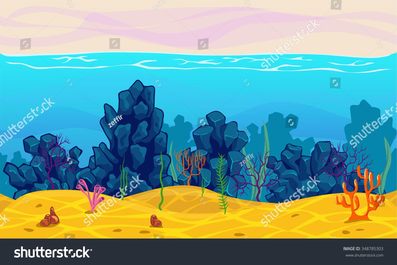 underwater seamless landscape cartoon background game