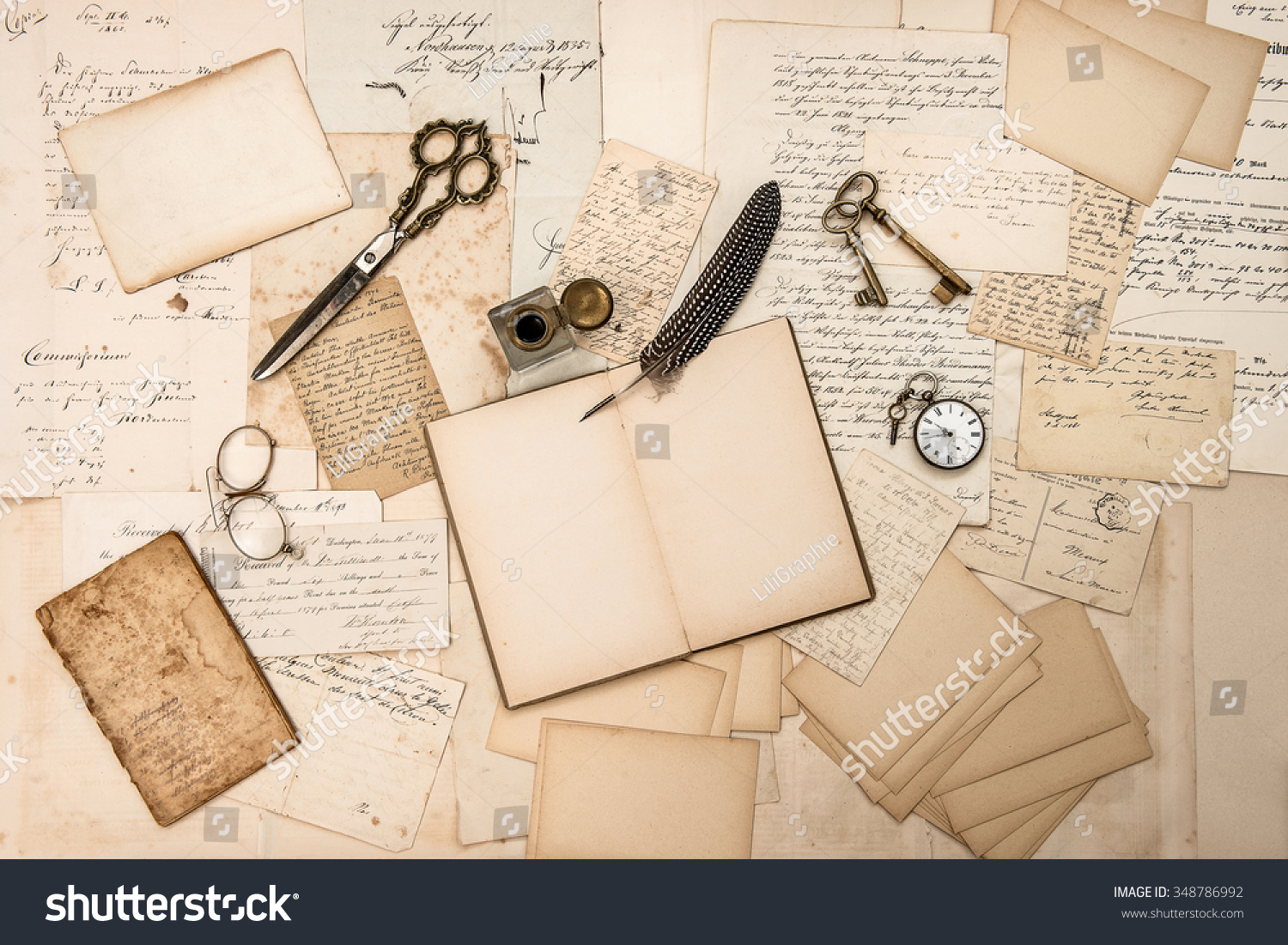 old handwritten letters pictures and antique writing accessories nostalgic sentimental paper background