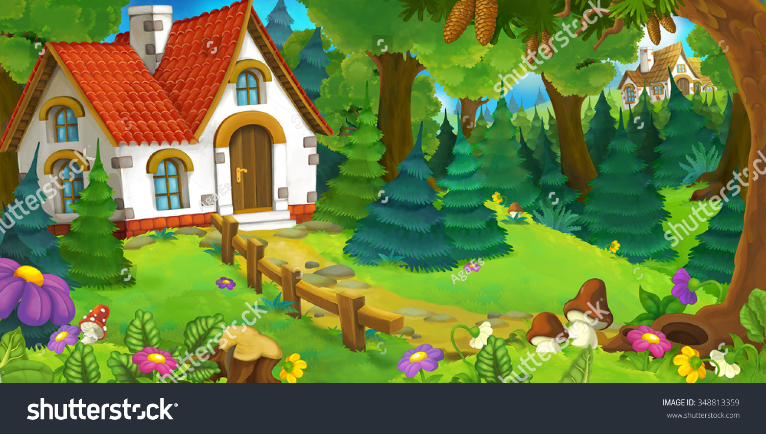 Cartoon forest house background