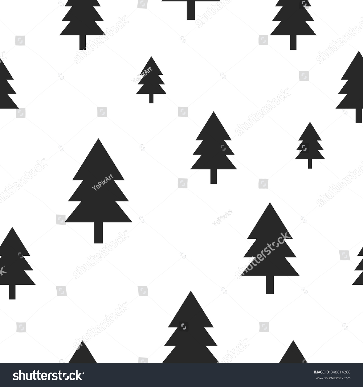 Seamless fir tree scandinavian pattern textile background wrapping - Scandinavian Black Forest Tree On White Vector Seamless Pattern Simple And Trendy Design For Textile