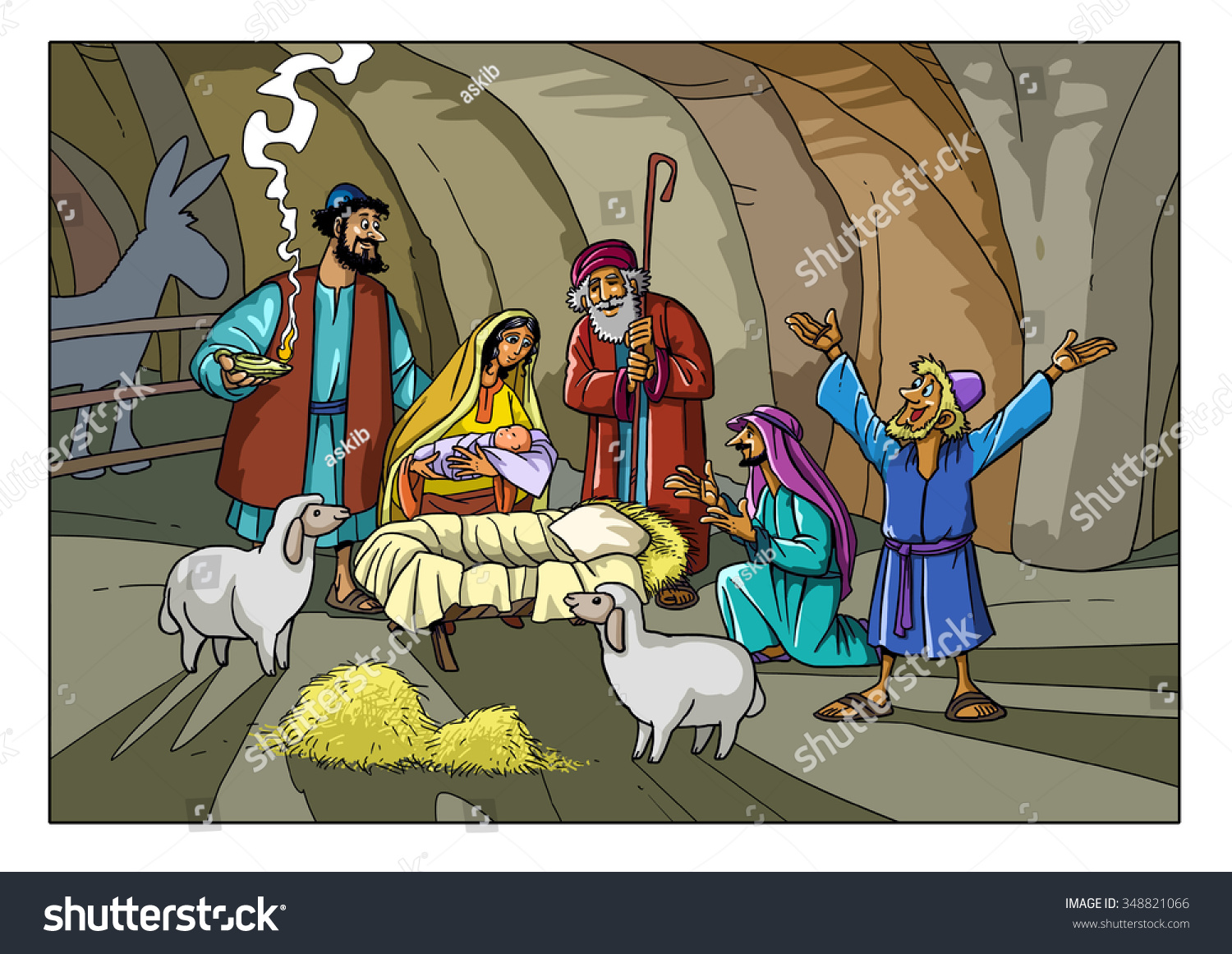 Christmas Story Shepherds Stable Joseph Mary Stock Illustration ...