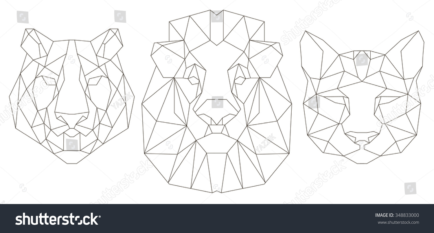 Animal Head Triangular Icon Geometric Trendy Stock Vector ... - photo#34