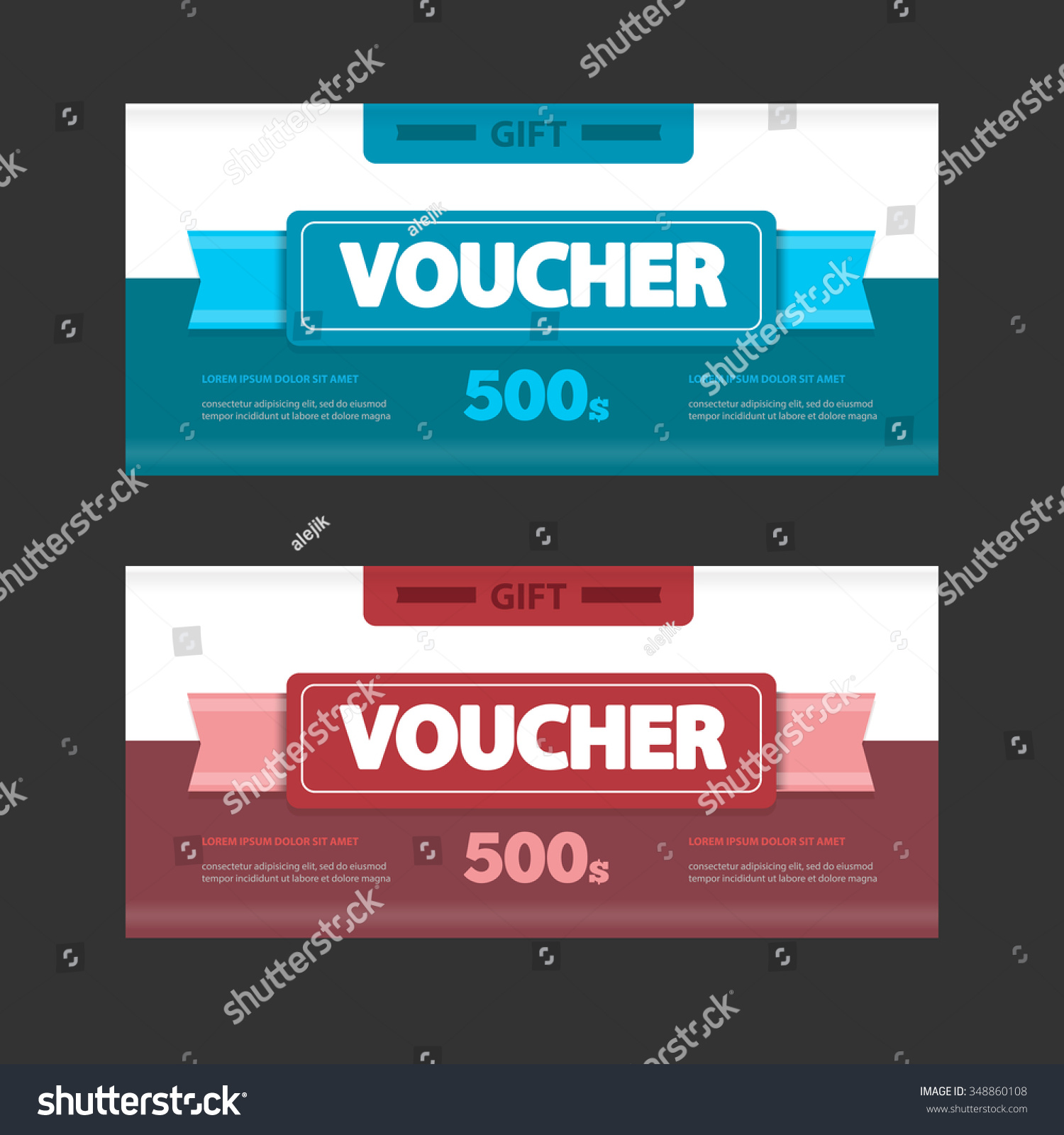 Two Coupon Voucher Design Gift Voucher Stock Vector Royalty Free