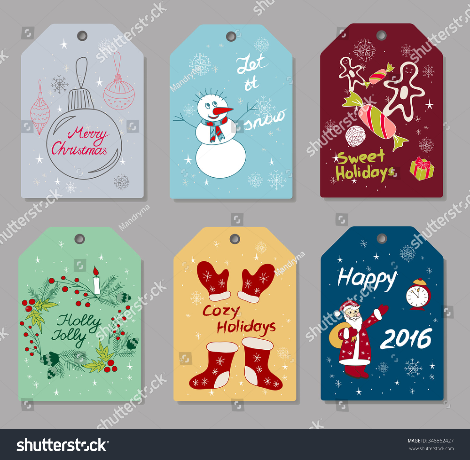 set of hand drawn christmas and new year gift tags small greeting cards with holidays