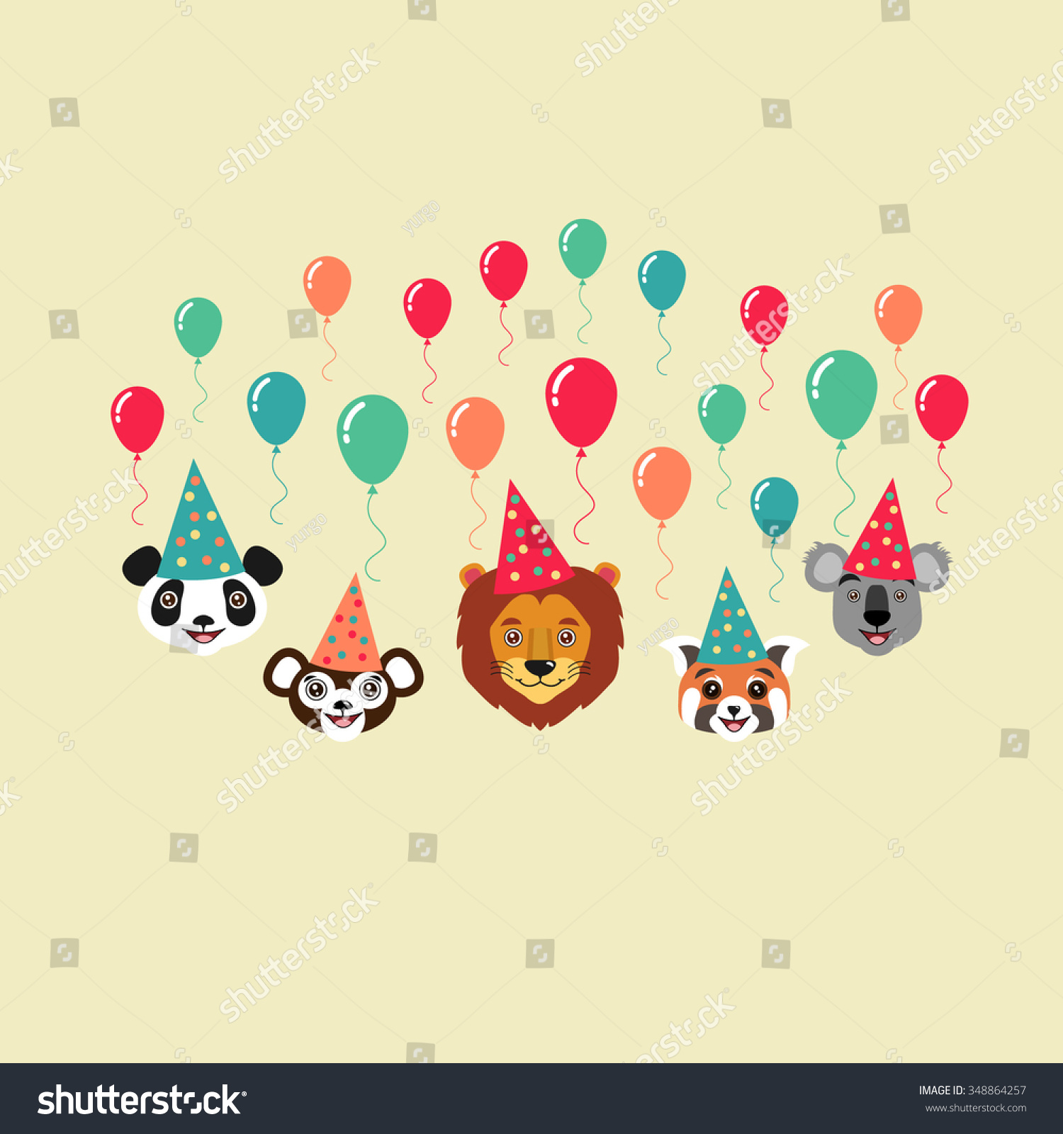 Birthday Greeting Card Birthday Party Invitation Stock Vector