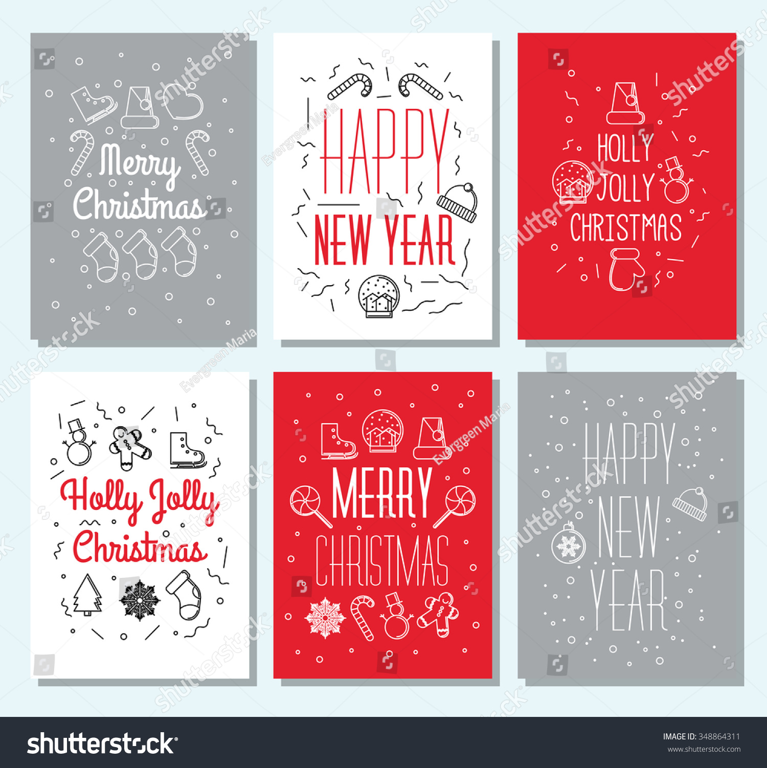 set of 6 vintage cute christmas cards with calligraphy and winter holiday elements greeting hand