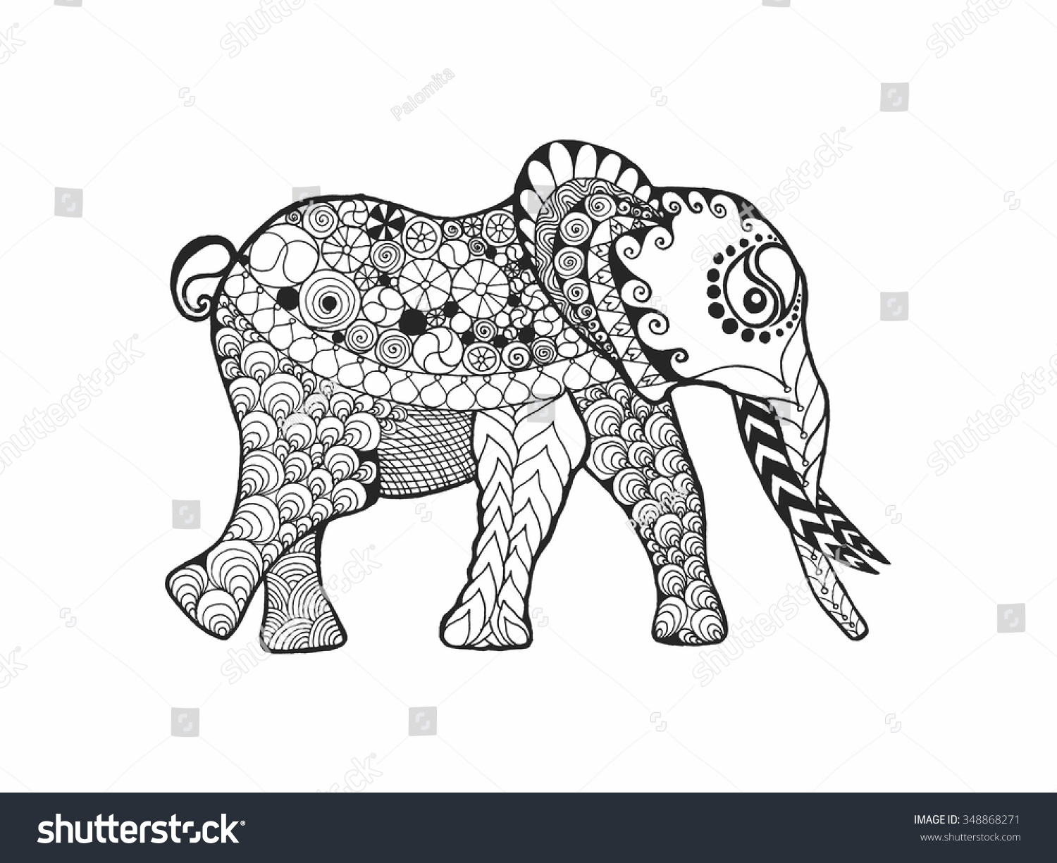 Elephant Adult Antistress Coloring Page Black Stock Vector ...