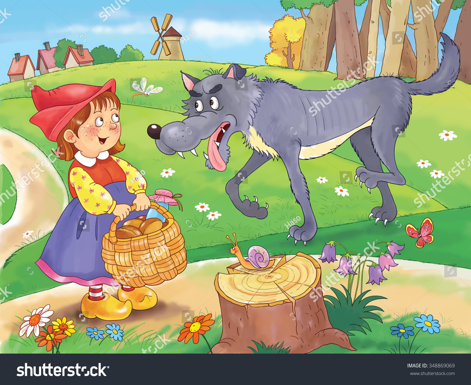 Little red riding hood fairy tale stock illustration 348869069 little red riding hood fairy tale a cute girl with a basket full of buycottarizona