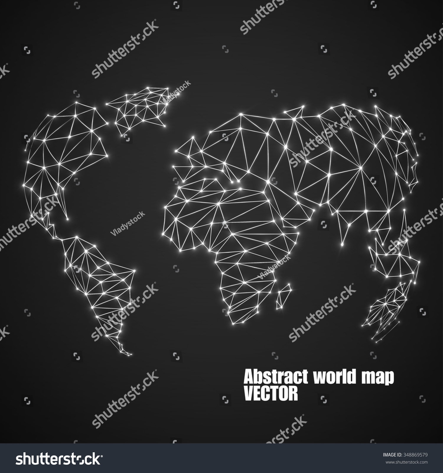 Abstract polygonal world map glowing dots stock vector 348869579 abstract polygonal world map with glowing dots and lines network connections vector illustration gumiabroncs Images