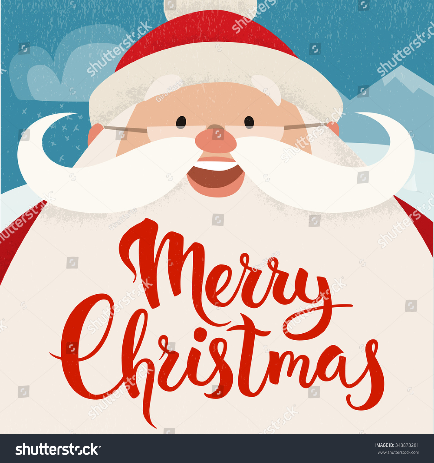Merry Christmas Vector Card Funny Christmas Stock Vector (Royalty ...